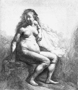 Mujer desnuda sentada en un montículo - Rembrandt