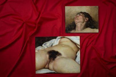"""Reproducción del """"origen del mundo"""" con la hipotética cabeza, representada  en ParisMatch"""