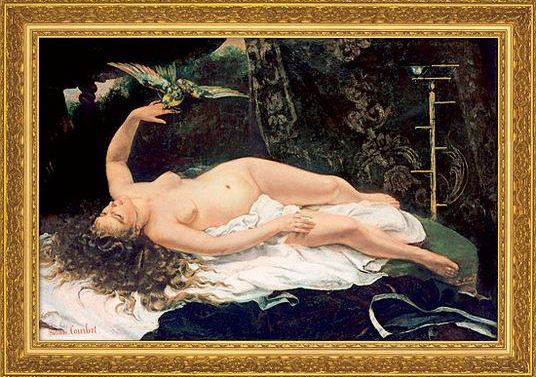 Mujer con loro - Courbet
