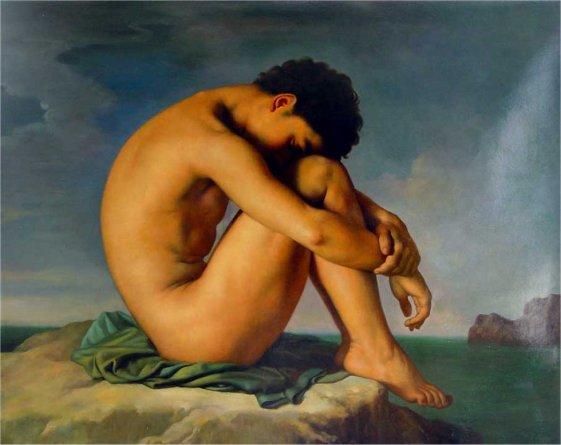 Desnudo masculino sentado al borde del mar - Flandrin