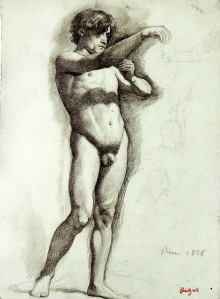 degas-desnudo masculino con el brazo derecho..