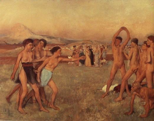 Jovenes espartanas provocando a unos mancebos a la lucha - Degas