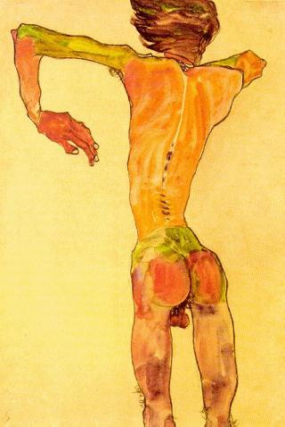 Egon Schiele - Self Portrait  from the back