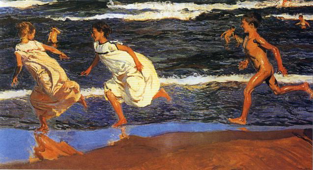 Niños corriendo en la playa - Sorolla