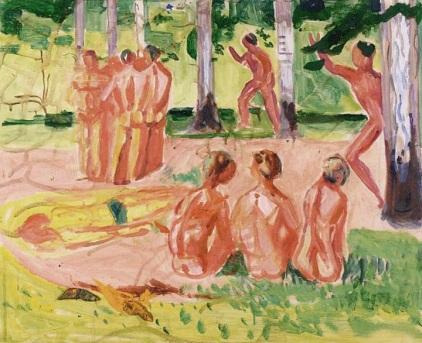 Hombres desnudos en un bosque de abedules