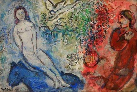 Desnudo en el asno azul - Chagall