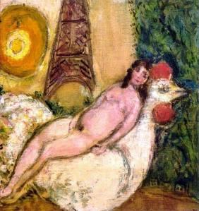 Desnudo con gallo blanco - Chagall