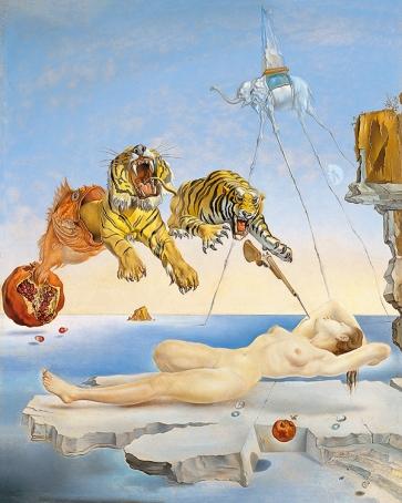 Sueño causado por el vuelo de una abeja alrededor de una granada un segundo antes de despertar - Dalí