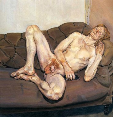 Hombre desnudo con rata - Lucien freud