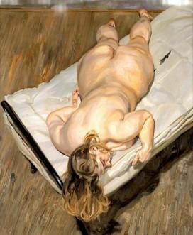Retrato nocturno boca abajo - Lucien Freud