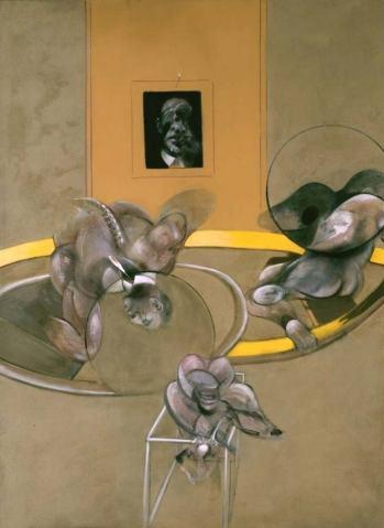 Tres figuras y retrato - Francis Bacon
