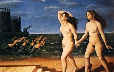 Mujeres frente al mar - Paul Delvaux