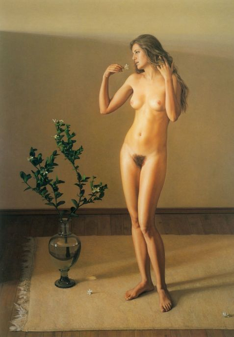 Mujer desnuda con flor - Claudio Bravo