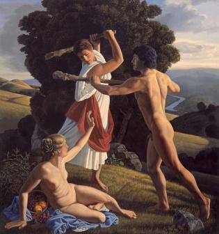 Hércules protegiendo el equilibrio entre Placer y Virtud - David Ligare