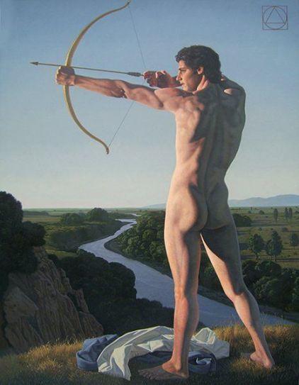 Arquero apuntando al Sol - David Ligare