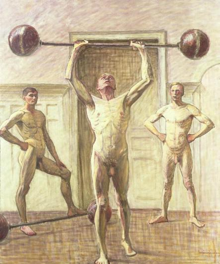 Eugene Jansson - Pushing weights with two arms III 1914