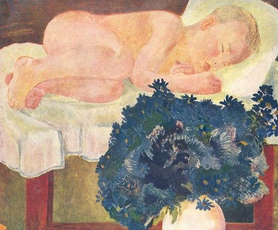 The sleeping boy with cornflowers
