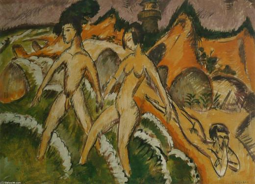 Ernst-Ludwig-Kirchner-Female-Nudes-Striding-into-the-Sea