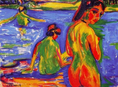 Ernst-Ludwig-Kirchner-Girls-who-bathe-in-the-lake