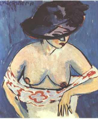 half-naked-woman-with-a-hat-ernst-ludwig-kirchner