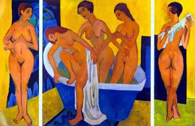 mujeres en el baño