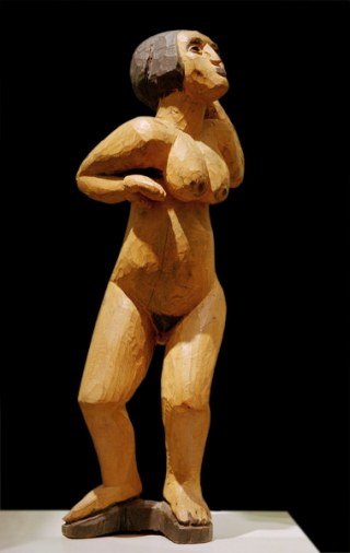 2-M145-A3-1911-40 E.L.Kirchner, Tanzende Kirchner, Ernst Ludwig 1880-1938. 'Tanzende. (Tanzende Frau, Rufende)', Erlenholz, ockergelb und schwarz bemalt, 87 x 35,5 x 27,5 cm. Amsterdam, Stedelijk Museum.