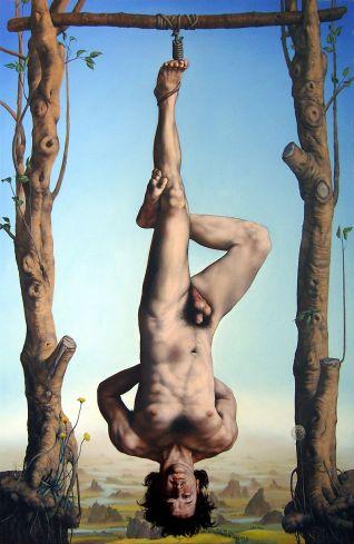 08-Colgado - 200 x 130 cm. óleo sobre tela, 2009