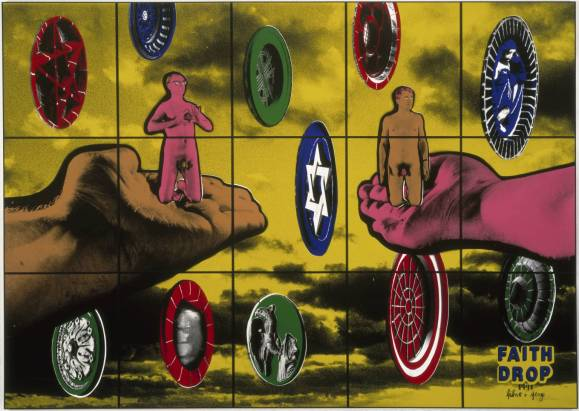 Faith Drop 1991 Gilbert & George born 1943, born 1942 ARTIST ROOMS  Acquired jointly with the National Galleries of Scotland through The d'Offay Donation with assistance from the National Heritage Memorial Fund and the Art Fund 2008 http://www.tate.org.uk/art/work/AR00176