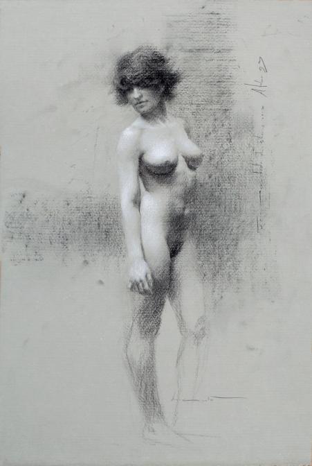 Dawning-Fusain-et-craie-blanche-sur-feuille-Fabriano-Roma-48-x-32.5-cm-900-€