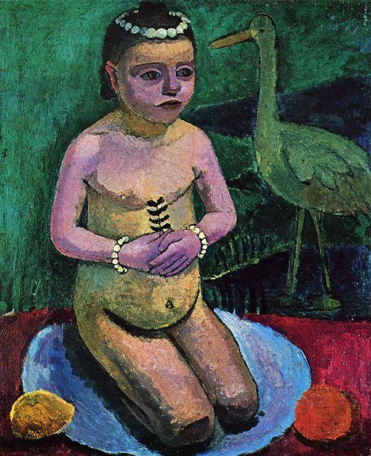 niño desnudo con una cigüeña
