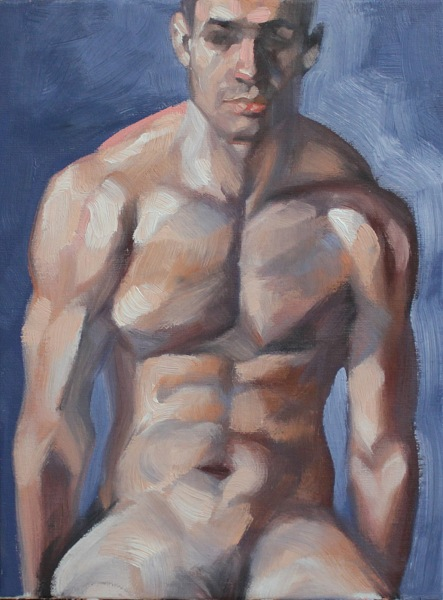 Shoulders, oil on canvas panel 9x12 inches by Kenney Mencher 1