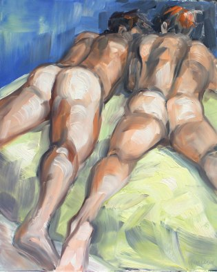 Two-Naked-Boys-in-Bed-Exposing-There-Tushies,-oil-paint-on-masonite-panel-11x14-inches-by-Kenney-Mencher
