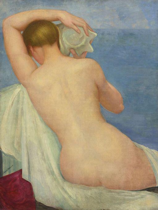 05-Ángel Zárraga, Desnudo de espaldas con caracol, oil on canvas, 116,2 x 88,2 cm., c.1925. Colección privada.jpg