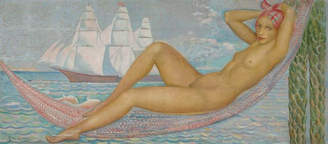 08-Ángel Zárraga, Desnudo, oil and graphite on canvas laid on panel, 80 x 180 cm., c.1935.jpg