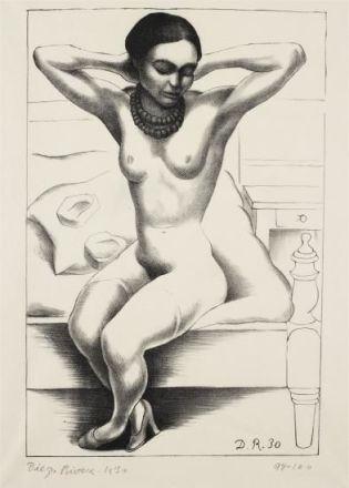 desnudo con rosario -  de Frida Kahlo- litografia 1930.jpg
