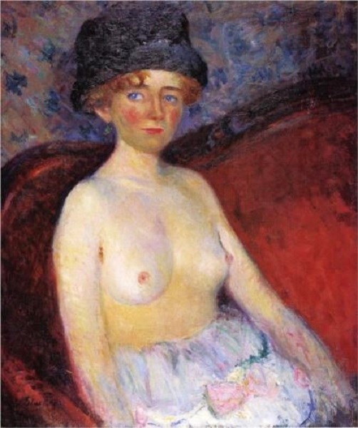 z William James Glackens (American artist, 1870-1938) Nude with Hat 1909.jpg