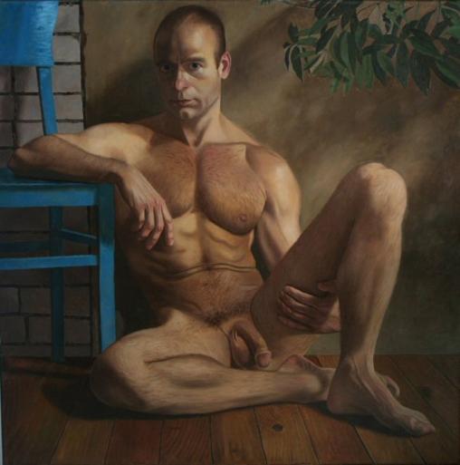 autorretrato con silla azul, 1988