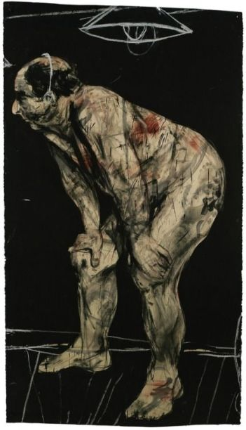 Ubu Drawing (Listening Man), 1998. Charcoal, gouache, dry pigment and pastel on paper.jpg