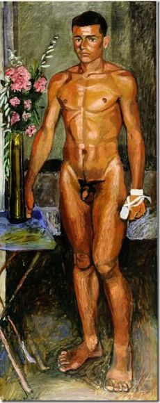 Naked young with oleander and bandage on hand (1940)